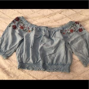Tops - NWT Sky Blue Off the Shoulder Slightly Cropped
